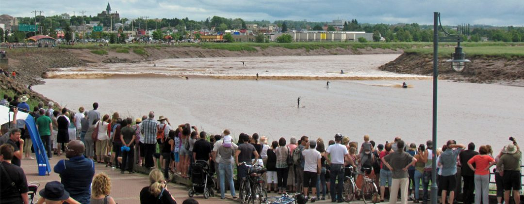Tidal Bore Surfers in Downtown Moncton